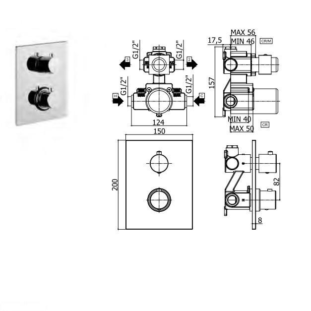 LIQ 518 NO/M light Змішувач для ванни термостатичний прихованого монтажу на 2 виходи, чорн.мат