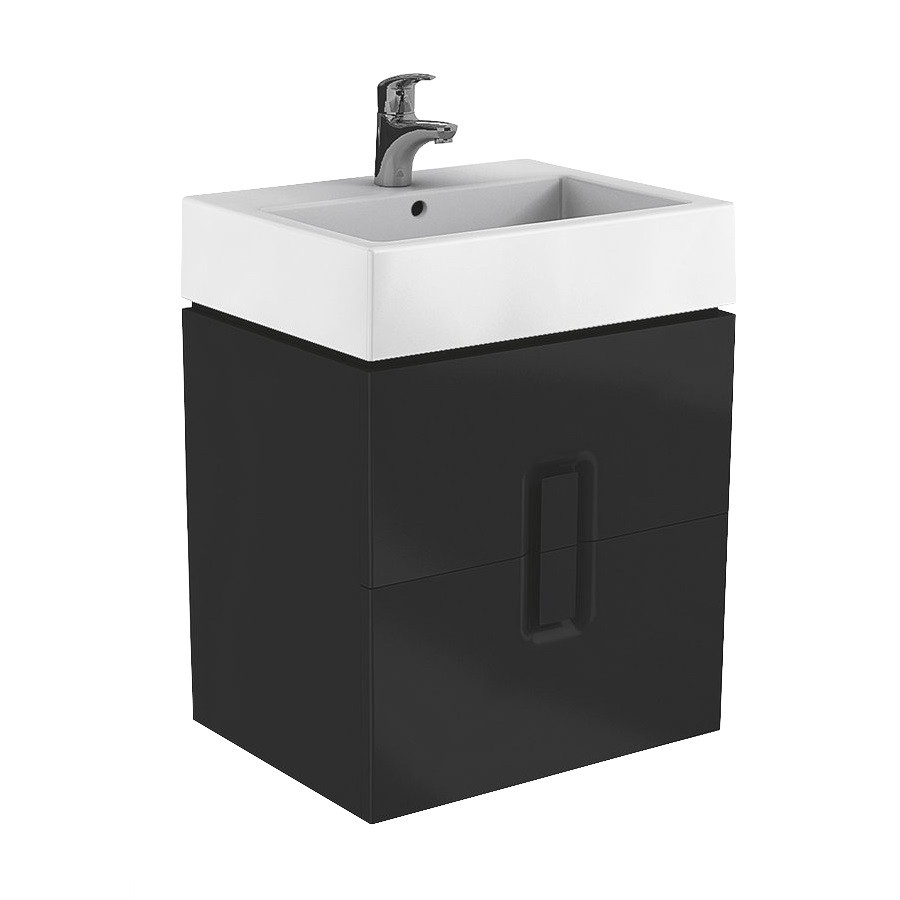Тумба для раковины Kolo Twins 89555000 Шкафчик под раковину 80 см, черный матовый
