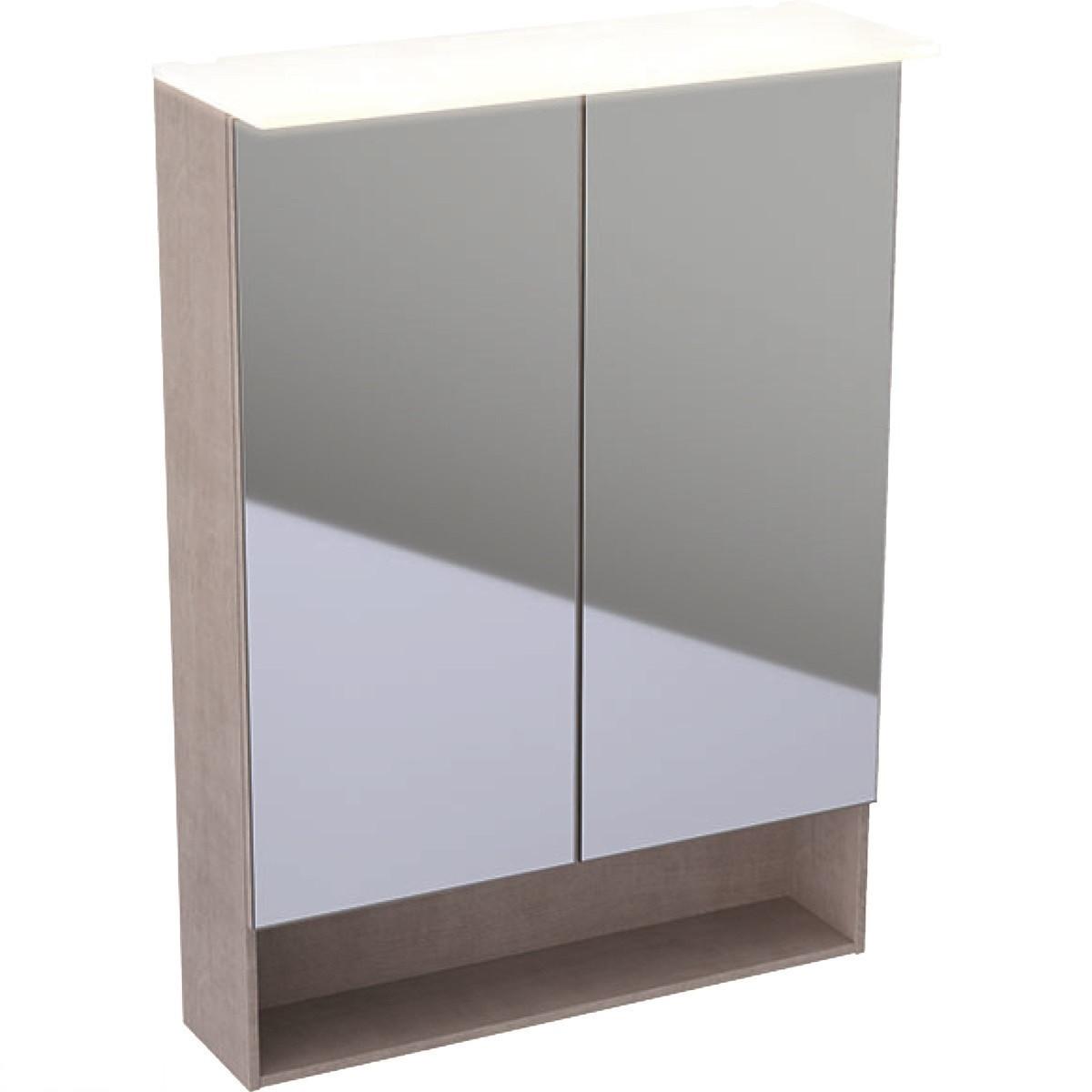 500.644.00.2 Geberit Acanto Дзеркальна шафка з підсвічуванням 60 см, з двома дверцятами: дуб Mystic