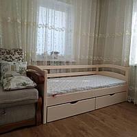 """Односпальная кровать """"Тахта"""" - Милана ванильная, массив ольхи"""