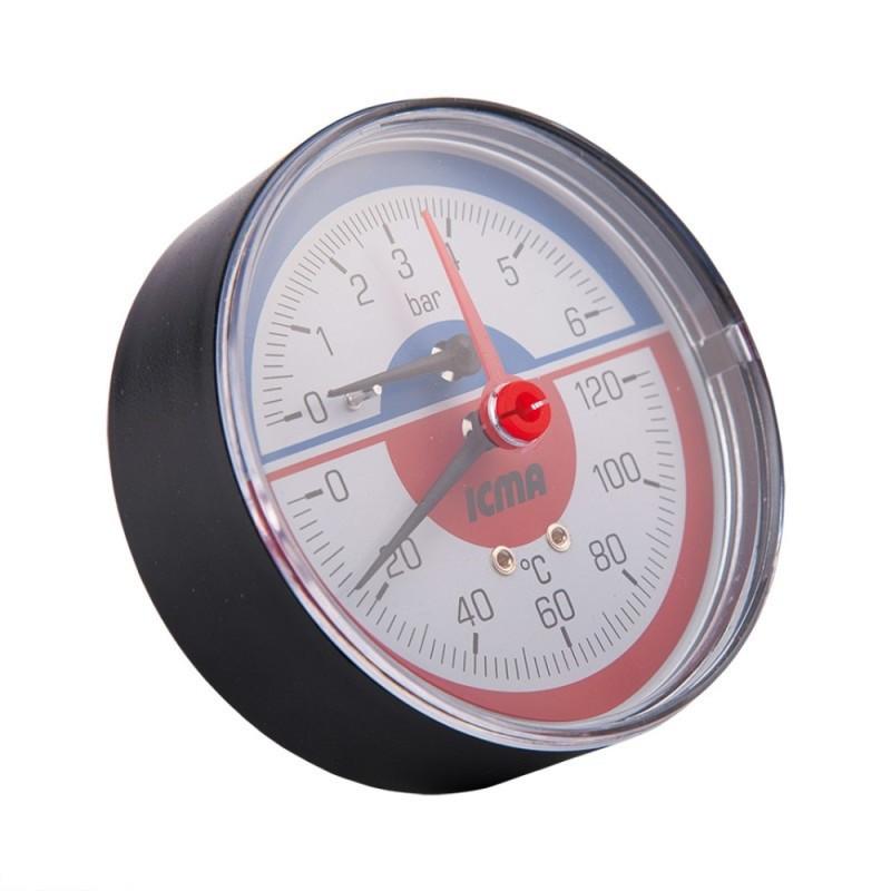 """Термоманометр Icma 1/2"""" 0-10 бар, заднє підключення №259"""