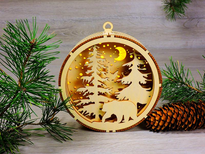 Деревянные новогодние игрушки с подсветкой из светодиодов «Рождественский орнамент - Сказочный лес» (2121)