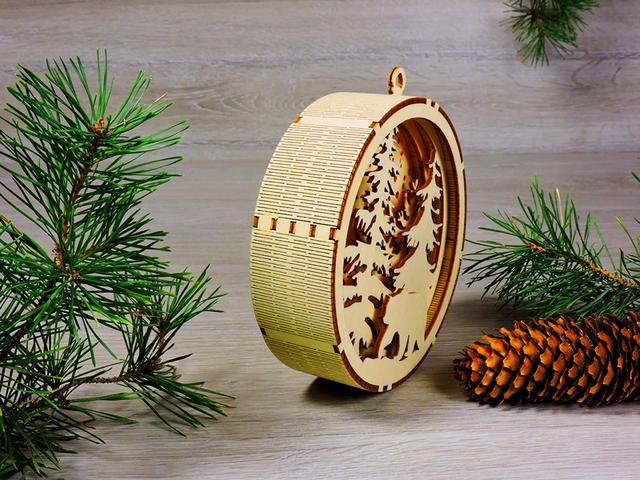 Деревянные новогодние игрушки со светодиодной подсветкой для украшения елки