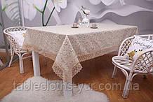 Скатерть Праздничная Лен 150-220 Коричневая с зелено-коричневыми цветками