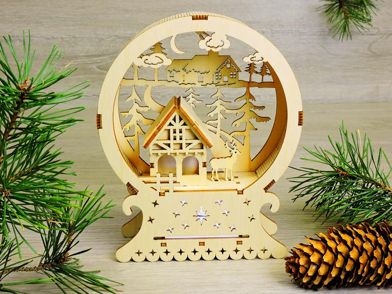 Красивый деревянный ночник «Рождественский домик Санта-Клауса» (2125)