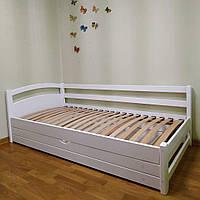 Односпальная угловая кровать Милана белая, массив ольхи