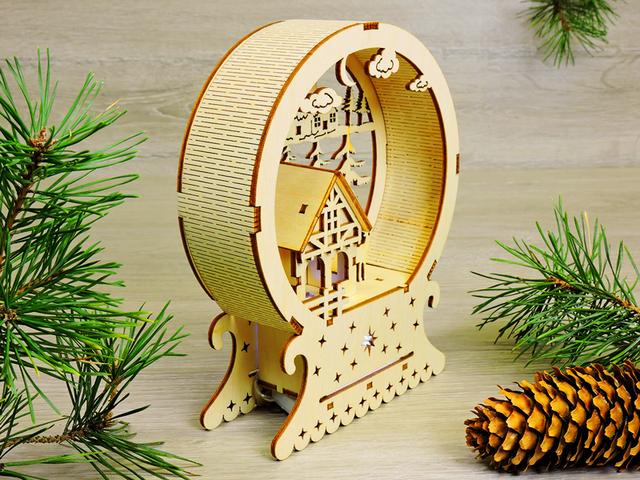 Новогодний ночник из дерева с LED подсветкой