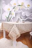 Скатерть Праздничная Лен 150-220 Коричневая с зелено-коричневым узором, фото 6