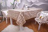 Святкова скатертина Льон 150-220 Коричнева з коричнево-білими квітками, фото 2