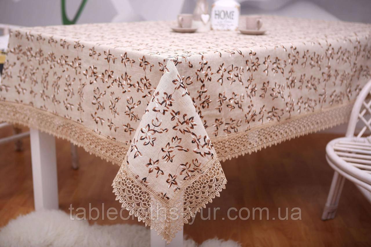Святкова скатертина Льон 150-220 Коричнева з коричнево-білими квітками