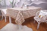 Святкова скатертина Льон 150-220 Коричнева з коричнево-білими квітками, фото 3