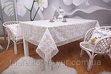 Скатерть Праздничная Лен  150-220 Белая с зелено-коричневыми цветками