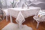Скатерть Праздничная Лен 150-220 Белая с золотистыми цветками, фото 2