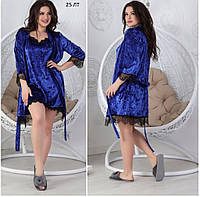 Набор женский ночной комбинация и халат 25 ЛТ велюр