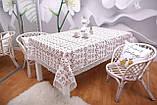 Скатертина Льон Святкова 150-220 Біла з коричнево-білими вишитими квітками, фото 4