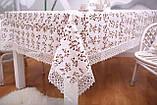 Скатерть Праздничная Лен 150-220 Белая с коричнево-белыми цветками, фото 2