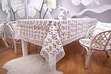 Скатертина Льон Святкова 150-220 Біла з коричнево-білими вишитими квітками, фото 6
