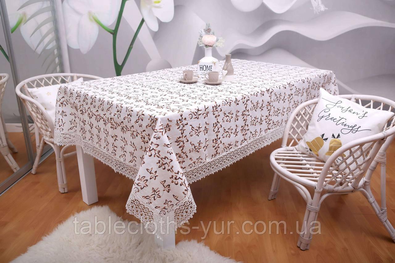 Скатертина Льон Святкова 150-220 Біла з коричнево-білими вишитими квітками