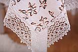 Скатерть Праздничная Лен 150-220 Белая с коричнево-белыми цветками, фото 3