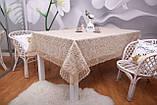 Скатерть Праздничная Лен  150-220 Коричневая с коричневыми цветками, фото 2