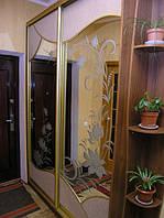 Шкаф-купе, зеркало с пескоструйным рисунком, ткань, Херсон, Одесса