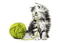 Настольная игра ArtStory Раскраска по номерам Котёнок с клубком (40х40) (без коробки) (AS0806)