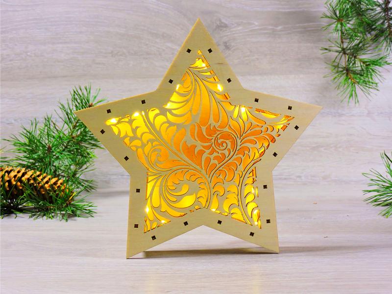 Led ночник звезда деревянная «Морозный рисунок» (2136)