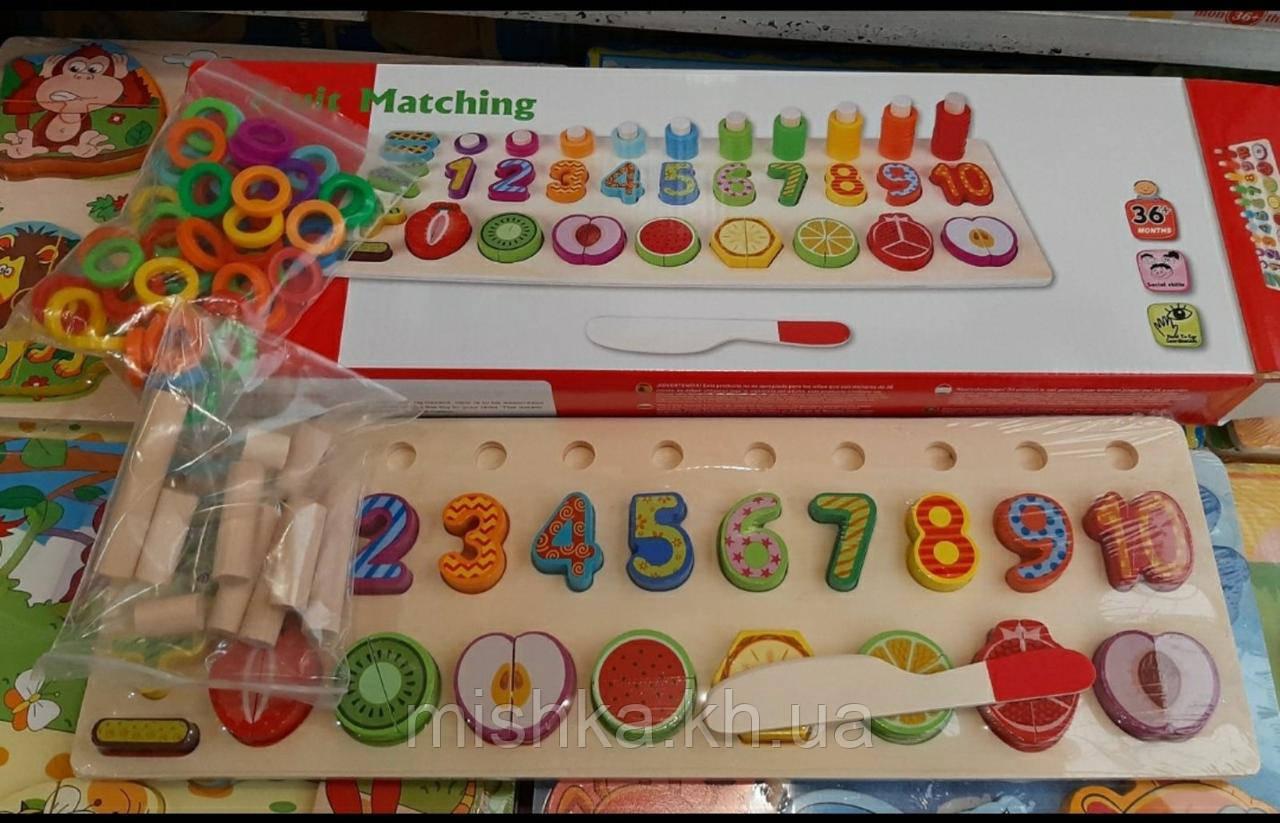 Развивающая игра Фруктовая математика деревянная игрушка геометрик