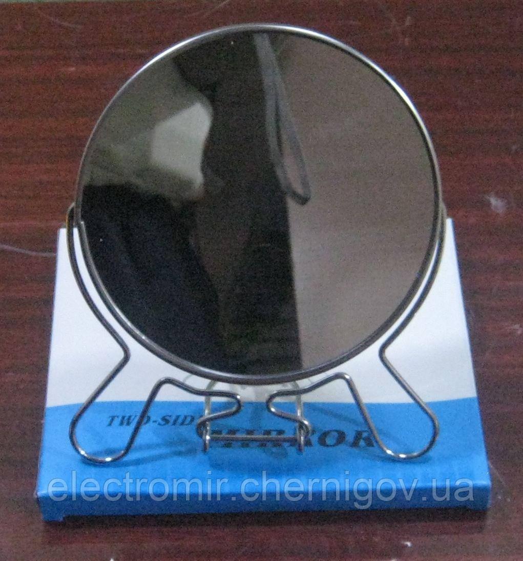 Зеркало двухстороннее в металлической оправе №5 (12 см диаметр)