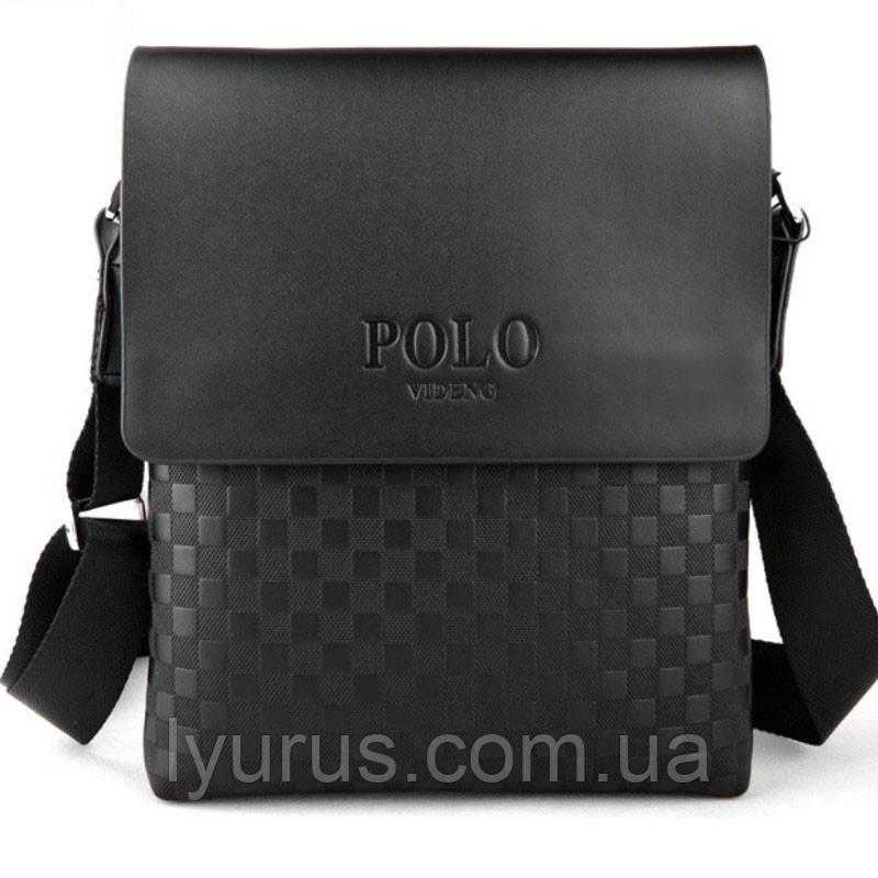Мужская сумка через плечо Polo Videng, поло. Черная. 28x22x4,5