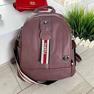 Женский сиреневый кожаный рюкзак (эко кожа) с широким ремешком Cosmo. Небольшой, стильный, повседневный рюкзак