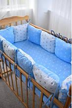 Подушки - бортики зі знімними наволочками 12 шт 30х30см в ліжечко (в кольорах)