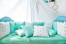 Подушки - бортики на три стороны 12 шт 30х30см в кроватку (в расцветках)