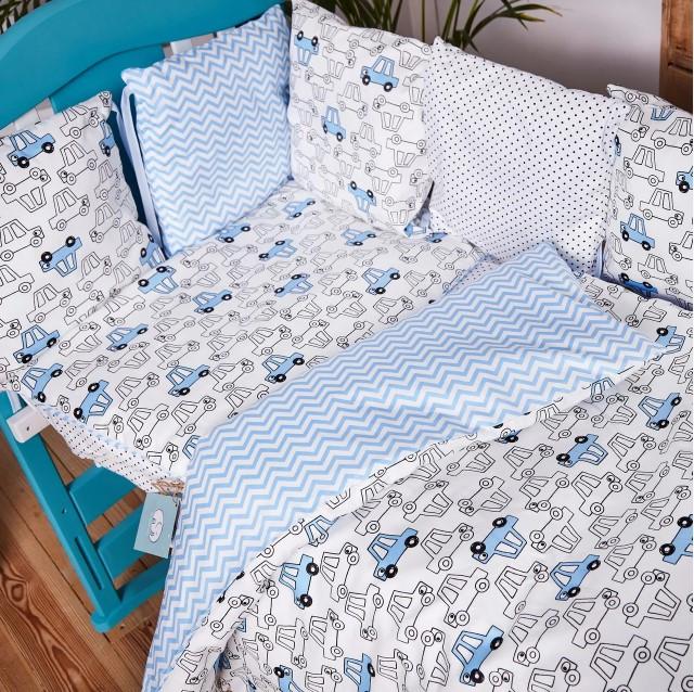 Детское постельное белье из сатина в детскую  кроватку с защитой и карманом