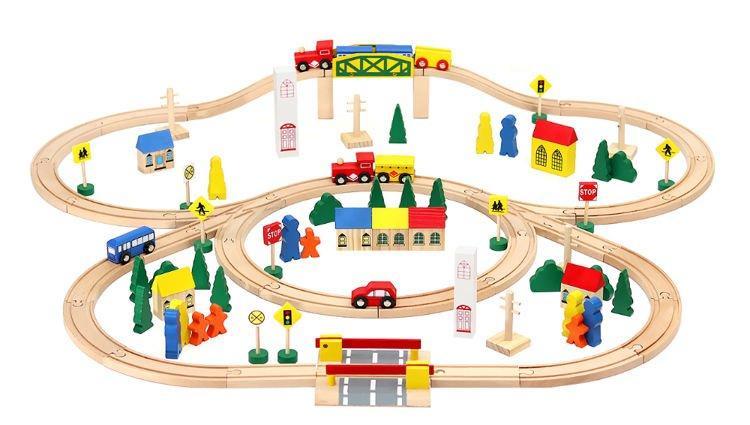 Дерев'яний залізничний набір 100 елементів Польща