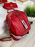 Женский рюкзак с широким ремешком Cosmo красный РФК75, фото 4