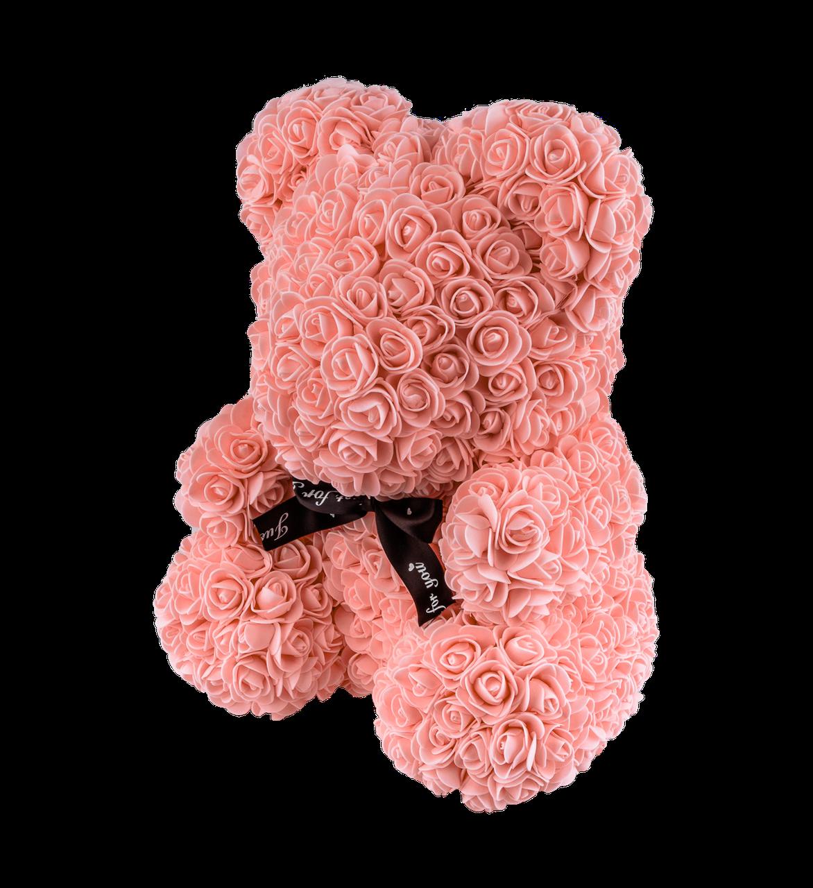 Мишка из 3D роз 40 см коралловый