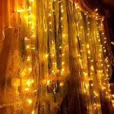 Світлодіодна гірлянда штора завісу дощ новорічна лід led на вікно 3x2 ялинку новорічна діодна біла тепла, фото 2