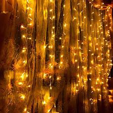 Світлодіодна гірлянда штора завісу дощ новорічна лід led на вікно 3x2 ялинку новорічна діодна біла тепла, фото 3