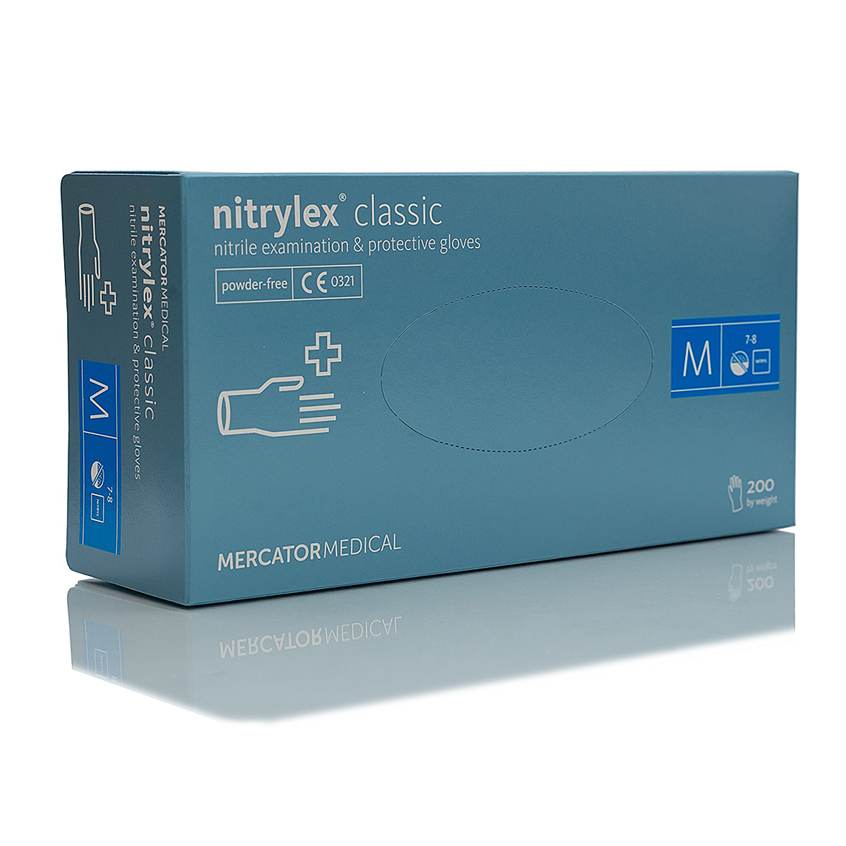 Рукавички нітрилові, неопудрені Mercator Medical Nitrylex Classic розмір М -100 шт Синій