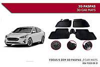 Резиновые коврики (4 шт, Niken 3D) Ford Focus IV 2018 гг. / Резиновые коврики Форд Фокус
