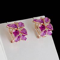 Привлекательные серьги с кристаллами Swarovski, покрытые слоями золота 0402