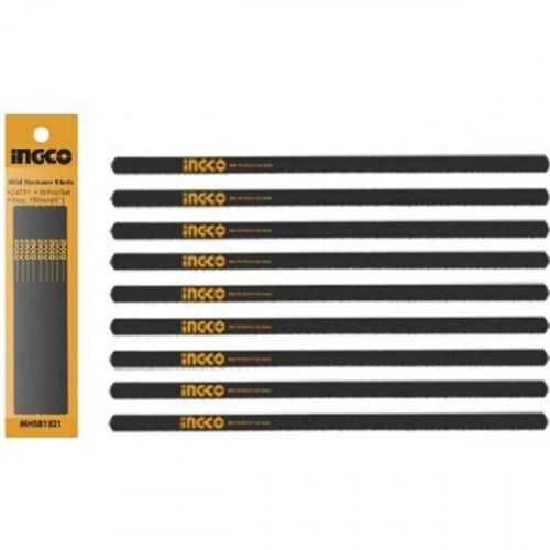 Набір пиляльних полотен для міні ножівки 150 мм 24Т, сталь 65Mn (10 шт) INGCO