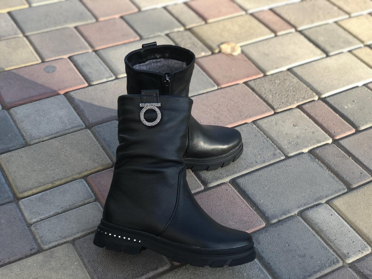 Кожаные зимние сапоги RQ 6110 размеры 33,34,35