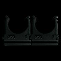 """Кріплення """"скоба"""" для г/т труб D 20 mm чорний (внут. уп.100шт) (50/10ящ) ТМ СПЕКТР LUX"""