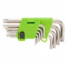 Набір коротких ключів імбусових Tamper-Torx, 9 шт: TTT10-T50, 45x, загартовані, нікель, Сибртех