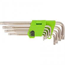 Набір ключів подовжених імбусових Tamper-Torx, 9 шт: TTT10-T50, 45x, загартовані, нікель, Сибртех