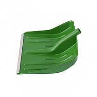 Лопата снігова зелена пластмасова 400 х 420 мм, без держака, алюмінієва окантовка, СИБРТЕХ