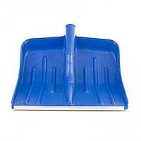 Лопата снігова синя пластмасова 400 х 420 мм, без держака, алюмінієва окантовка, СИБРТЕХ