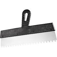 Шпатель із нержавіючої сталі 250 мм, зуб 8х8 мм, пластмасова ручка, СИБРТЕХ